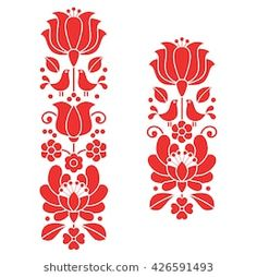 Kalocsai Red Embroidery - Hungarian Floral Folk Art Long Patterns Stock Vector - Illustration of hungary, folklore: 71916281 Hungarian Embroidery, Brazilian Embroidery, Folk Embroidery, Learn Embroidery, Vintage Embroidery, Floral Embroidery, Embroidery Online, Indian Embroidery, Embroidery Designs