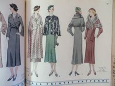 McCall Printed Patterns catalog, February 1933 featuring McCall 7039 (left page) and 7172 (Cape) and 7126 (Coat) on the right page