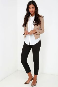 cute business casual work outfit with white shirt black pants and flat animal print shoes #work #outfit