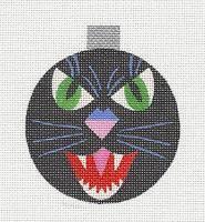 Raymond Crawford Halloween Black Cat Face handpaint Needlepoint Canvas  SP.ORDER