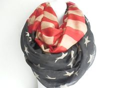 FLASH SALE: American Flag Scarf Flag scarf Vintage patriotic scarf July 4th Scarves Red White Blue Infinity long Flag Scarf infinity Scarves