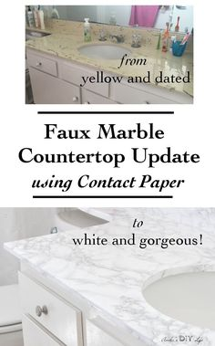 Apartment decorating |You will not believe how easy it is to update old countertops! Just use Contact paper. Perfect solution for rental bathroom and Kitchen