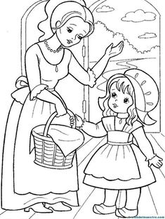 little red riding hood, karkulka Farm Animal Coloring Pages, Dog Coloring Page, Pattern Coloring Pages, Coloring Sheets For Kids, Cute Coloring Pages, Coloring Books, Paper Flowers For Kids, Fairy Tale Activities, Human Drawing