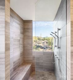 Contemporary Neutral Shower with Desert View