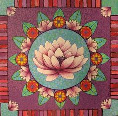 Lotus mandala by Sonia Koch Indian Folk Art, Buddha Art, Flower Mandala, Lotus Mandala, Sacred Lotus, Lotus Flower, Posca, Mexican Art, Mandala Design