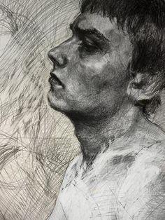 Kamil Smala -wonderful mark-making in this portrait. Art Drawings For Kids, Art Drawings Sketches, Disney Drawings, Figure Drawings, Drawing Studies, A Level Art, Pencil Portrait, Life Drawing, Art Sketchbook