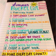 My summer bucket list (: - - Bucket List Ideas Summer Bucket List For Teens, Summer Fun List, Summer Goals, Bullet Journal Ideas Pages, Bullet Journal Inspiration, Bullet Journal Notebook, What To Do When Bored, Things To Do When Bored For Teens, Best Friend Bucket List