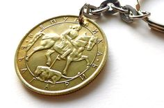Bulgarian Coin keychain Horse keychain Coins Men's by CoinStories