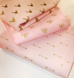 Pink and Gold Arrow Fabric Pastel Cute Pattern by BebeFabricStudio