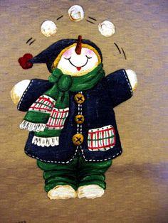 Natale countru painting - pupazzo di neve blu e palle di neve
