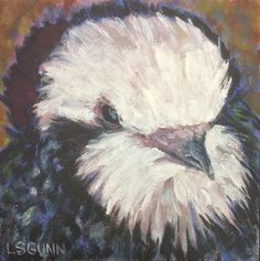"Our pet pigeon FLIPPY 1999 to 2017 6"" x 6"" Oil on board"