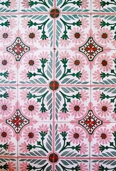 pink and green floral tiles (print-spiration) Tile Patterns, Textures Patterns, Print Patterns, Morrocan Patterns, Boho Pattern, Pattern Design, Pink Bathroom Tiles, Pink Tiles, Moroccan Tiles