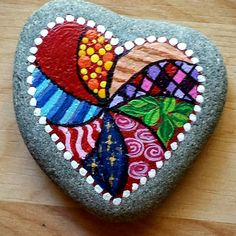 Easy Paint Rock For Try at Home (Stone Art & Rock Painting Ideas) Valentine Paint Rock Heart Painting, Pebble Painting, Dot Painting, Pebble Art, Stone Painting, Stone Crafts, Rock Crafts, Arts And Crafts, Rock Painting Ideas Easy