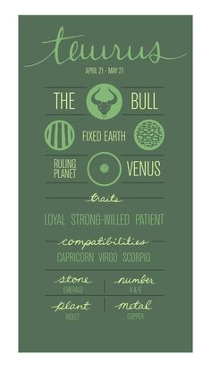 TAURUS. Zodiac Poster. Detailed Description of Astrological Sign. , more cool astrology photos and memes here http://www.astrologylove.net