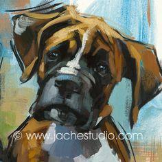 Boxer Pup  Pet Portrait   Giclée Fine Art Print by JacheStudio, $99.00