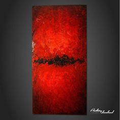 tableau rouge et noir sur bois
