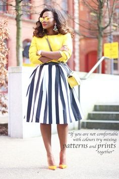 wide stripes on an a-line skirt + yellow pop