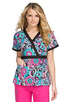 4c114893525 Amazon.com: MedCouture by Peaches Womens Milan Crossover VNeck Scrub Top  Bold Attraction, XS: Clothing