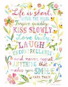 Life is Short art print Inspirational Quote Hand Lettering image 0 Art Quotes, Life Quotes, Inspirational Quotes, Life Is Short Quotes, Happy Quotes, Motivational Quotes, Daisy Art, Acrylic Artwork, Mark Twain