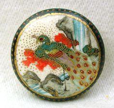 "Antique Satsuma Button Meiji Period Peacock & Waterfall w DKGreen Dot Border 1"""