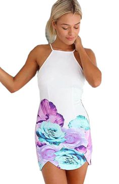 White Print Backless Party Dress