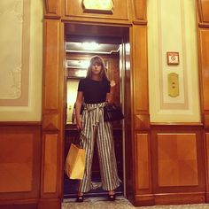 Cecile Togni wearing our striped pants #tara_jarmon