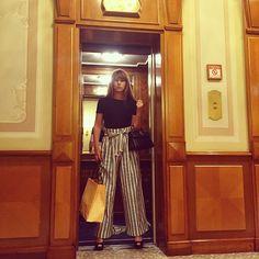 Cecile Togni wearing our striped pants #tara_jarmon