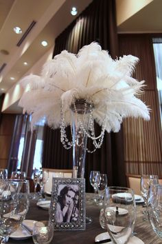feather and pearl center pieces | ... Photo: Old Hollywood Glam, Feathers…