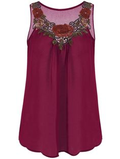 Embroidered Sleeveless Chiffon Plus Size Top - WINE RED XL