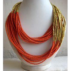 Statement Necklace/Orange Necklace/Multi Strand Necklace/Chunky Necklace/Beaded…