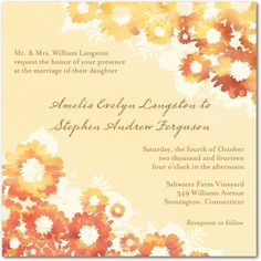 Signature White Textured Wedding Invitations Bold Marigold - Front : Bisque