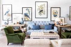 Decor Destination: Amy Berry Home Living Room Green, Living Room Sofa, Living Room Decor, Living Spaces, Living Rooms, Blue And White Living Room, Family Rooms, Tight Back Sofa, Chesterfield Sofa