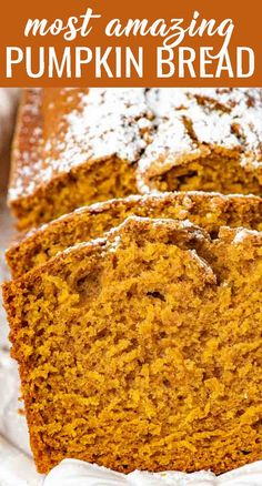 Pumpkin Bread is a quick no-fail bread that has a simple pumpkin flavor. It makes two loaves so you can give one for a gift! Best Pumpkin Bread Recipe, Canned Pumpkin Recipes, Easy Pumpkin Bread, Pumpkin Recipes Simple, Starbucks Pumpkin Bread, Gluten Free Pumpkin Bread, Pumpkin Chocolate Chip Bread, Fall Baking, Gourmet