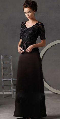 Black Floor-length V-Neck Satin Short Sleeve Modest Evening Dress (3B000019) Comes in lots of colors