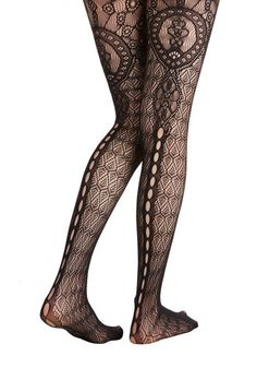 ModCloth Dream House Tour Tights - Black, Print, Film Noir, Pinup, Vintage Inspired, 50s, Boudoir, Darling, Sheer, Knit, Lace
