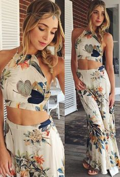 Muted Spring Two Piece Cropped Maxi Dress Set | vintagehordes