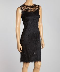 Look what I found on #zulily! Black Sheer Lace-Overlay Sheath Dress by Marina Clothing #zulilyfinds