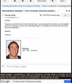 York University psychology student Vanessa Hodja has faced a ton of unexpected media attention these last few days after she accidentally sent a hilarious photo of actor Nicolas Cage to a potential employer instead of her resume and cover letter. My Resume, Basic Resume, Resume Format, Resume Tips, Psychology Student, York University, Nicolas Cage, Facebook Status, Cover Letter For Resume