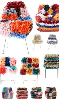 RAGAMUF chair rugs are brilliant on so many levels. Designed in Finland, they are stretchy, super shaggy covers that will fit over and transform most chairs and arm chairs. Cool Chairs, Arm Chairs, Accent Chairs, Lounge Chairs, Office Chairs, Dining Chairs, Rocking Chairs, Beach Chairs, Latch Hook Rugs