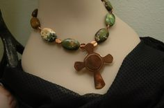 Celtic Cross Copper Cross Necklace Earring Sun Dial Olive Green Jasper Tribal Southwest Jewelry Country Chic Ambient Atelier Art Jewelry by AmbientAtelier on Etsy. I offer 10% off orders from items found on Pinterest.