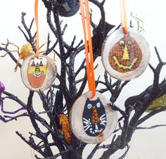 3 Hand Painted Primitive Halloween Branch Slice Ornaments. Pumpkin or Jack-o-lantern, Candy Corn, Black Cat.   Painted by Me. by TimesNotForgotten on Etsy
