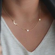 Mond und Sterne Halskette Halbmond Halskette von AtelyeSade auf Etsy