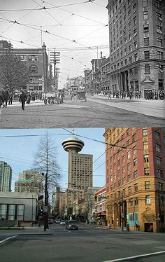 Hastings at Cambie - Vancouver Skyline, Vancouver Bc Canada, Vancouver City, Historical Pictures, Historical Sites, West Coast Canada, Immigration Canada, Dream Dates, Then And Now Photos