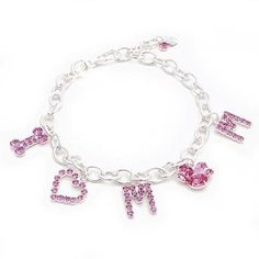 Mom Charm Pink Crystal Dog Necklace