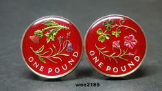 2014 SCOTLAND AND NORTHERN IRELAND POUND coin cufflinks • Northern Ireland Flax & Shamroch £1 • Scotland Bluebell & Thistle £1