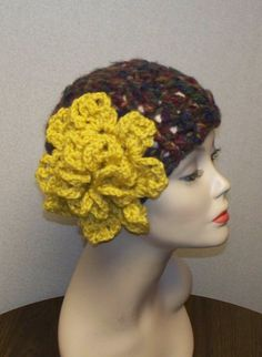 Gorgeous Flapper Hat Cloche Beanie with one Blooming by chicnwarm, $35.00