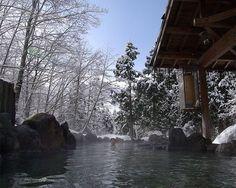 A man relaxes at the Ganiba Onsen in Semboku, Akita, Japan