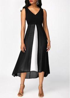 Black Chiffon Panel V Neck Sleeveless Dress, free shipping worldwide at rosewe.com #Womendresses