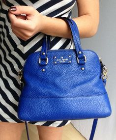 Kate Spade Grove Court Purse in Royal Blue - $290 on sale! #katespade #threadflip #katespadepurse
