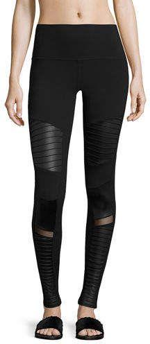 8a8549fc930d4 Alo Yoga High-Waist Moto Sport Leggings with Mesh Panels Striped Leggings,  Women's Leggings